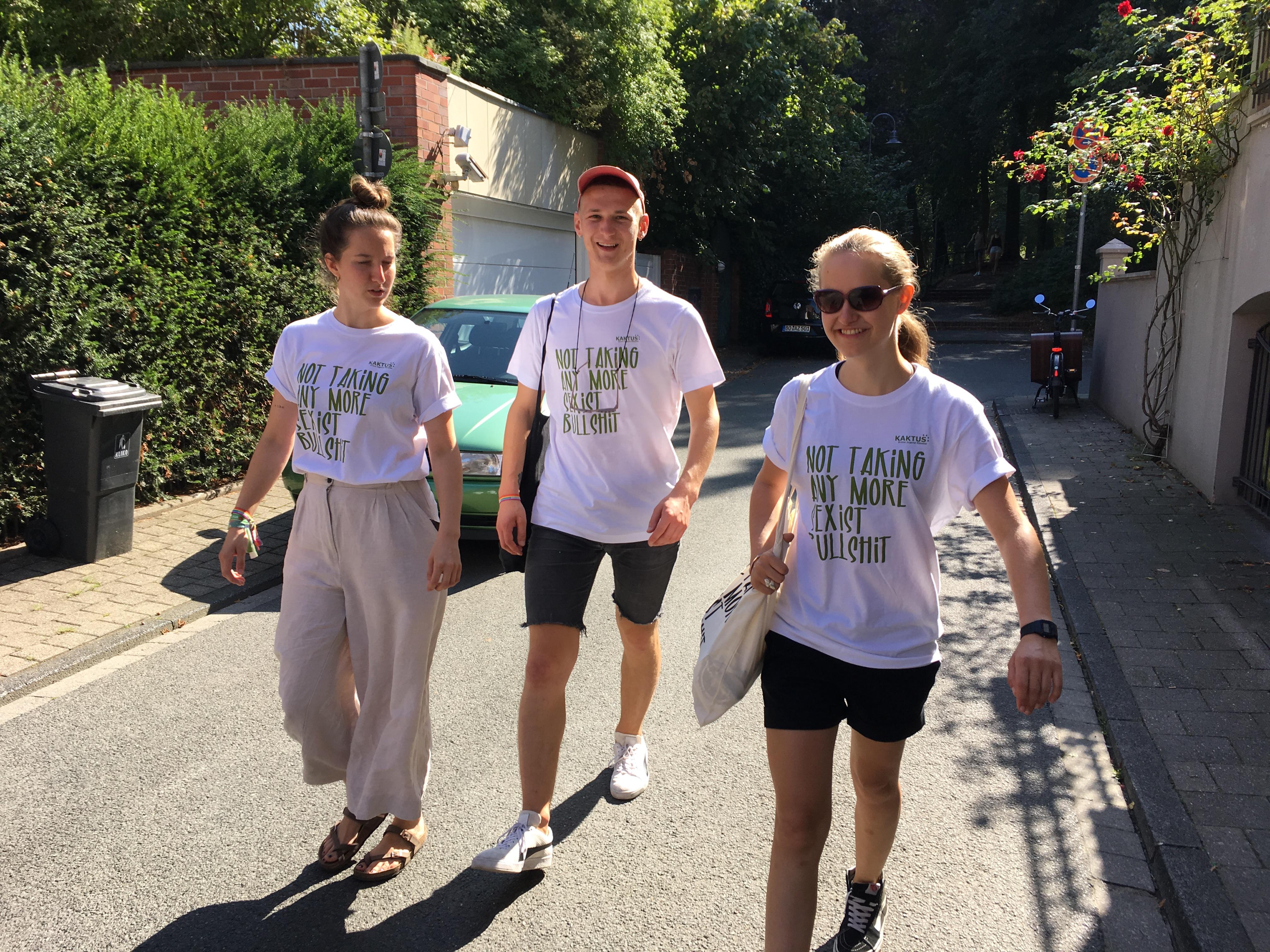 Drei Kakteen auf einer Straße